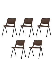 Kit 5 Cadeiras Up Assento Marrom Base Fixa Preta - 57828 Marrom