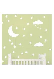 Adesivo De Parede Infantil Nuvens Lua E Estrelas Branco