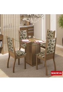 Mesa De Jantar 4 Lugares Soraya Rustic/Bege Marrom - Madesa Móveis