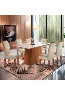 Conjunto De Mesa De Jantar Com Vidro E 6 Cadeiras Sevilha Ll Jacquard Off White E Bege