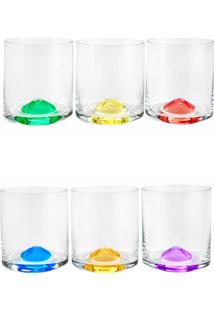 Conjunto Rojemac 6 Copos De Cristal Ecológico Para Whisky Set-Bar Favorit Wave Colorido