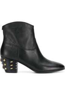 Michael Michael Kors Ankle Boot De Couro Com Tachas No Salto - Preto
