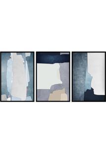 Quadro 60X120Cm Abstrato Hundura Moldura Preta Com Vidro Decorativo - Multicolorido - Dafiti