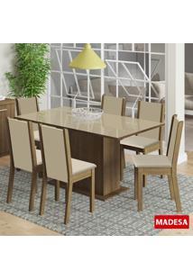 Mesa De Jantar 6 Lugares Anis Rustic/Crema/Perola - Madesa