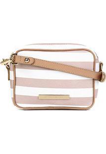 Bolsa Couro Jorge Bischoff Mini Bag Transversal Feminina - Feminino-Branco+Bege