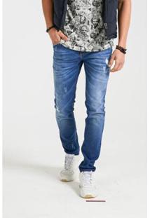 Calça Docthos Jeans Estonada Destroyed - Masculino-Azul