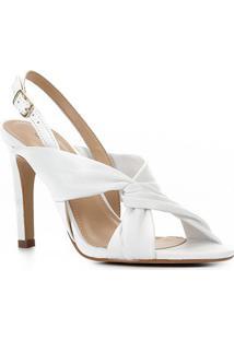 Sandália Couro Shoestock Salto Fino Tiras Cruzadas Feminina - Feminino-Branco