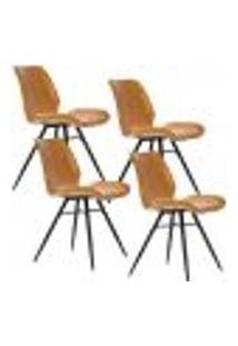 Kit 04 Cadeiras Para Sala De Jantar Cozinha Long Marrom Vintage Brown - Gran Belo