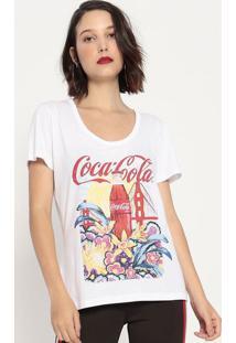 """Camiseta """"Coca-Cola®""""- Off White & Vermelha- Coca-Cococa-Cola"""