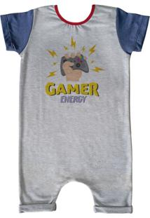 Pijama Curto Comfy Gamer Energy Cinza