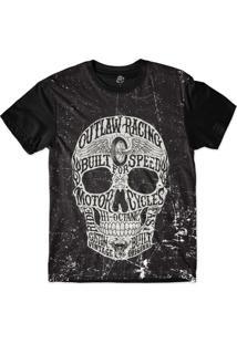 Camiseta Bsc Motoqueiros Caveira Motor Sublimada Preto