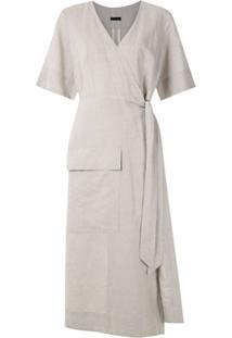 Osklen Vestido Midi Wrap Natural Rustic - Cinza