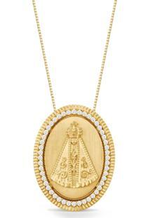 Pingente Ouro Amarelo E Diamantes 25 Mm