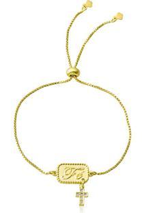 Pulseira Horus Import Pingente Cruz Da Fé Banhada Em Ouro Amarelo 18 K - 1080013