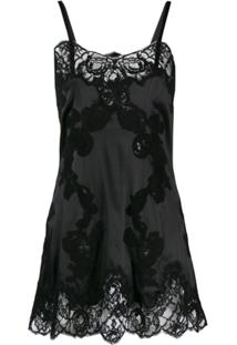 Dolce & Gabbana Slip Dress Com Renda - Preto