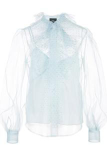Marc Jacobs Sheer Pussybow Blouse - Azul