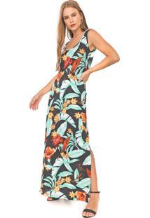 Vestido Fiveblu Longo Floral Preto/Verde