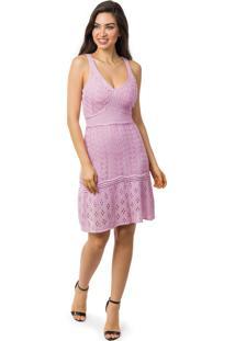 f84ae741c7 Tricae. Vestido Pink Tricot Curto Godê Alças Feminino Lilás
