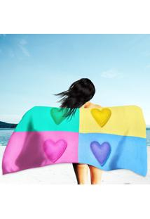 Toalha De Praia / Banho Colorful Hearts