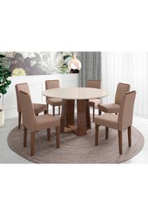 Conjunto De Mesa De Jantar Com Tampo De Vidro Isabela E 6 Cadeiras Amanda Veludo Off White E Bege