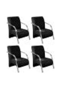 Conjunto De 4 Poltronas Sevilha Decorativa Braço Alumínio Cadeira Para Recepção, Sala Estar Tv Espera, Escritório - Suede Preto