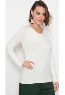 Suéter Em Tricô - Branco- Suzan Zhengsusan Zheng