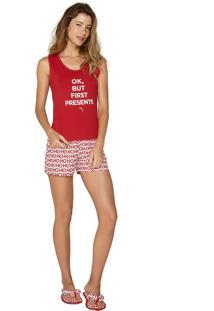 Pijama Lua Luá Regata Hi, Santa Vermelho