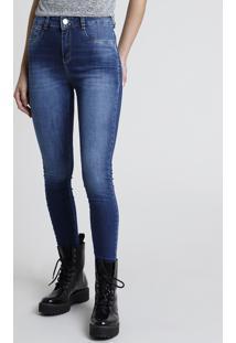 Calça Jeans Feminina Sawary Skinny Heart Cintura Média Azul Escuro