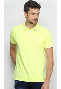 Camisa Polo Derek Ho Tinturada Piquet Básica Masculina - Masculino-Amarelo