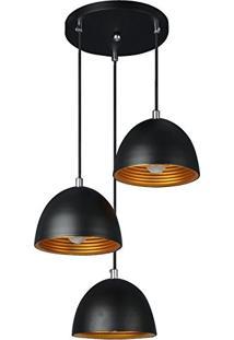 Luminária Pendente Trio Alumínio Preto Fosco Ref: Lt-731-3