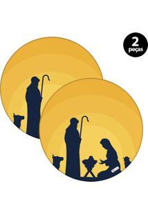 Sousplat Mdecore Natal Jesus 32X32Cm Amarelo 2Pçs