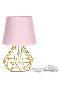 Abajur Diamante Dome Rosa Com Aramado Amarelo