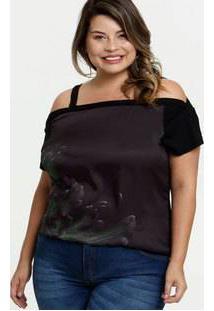 Blusa Feminina Open Shoulder Acetinado Plus Size
