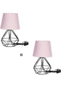 Kit 2 Abajur Diamante Dome Rosa Com Aramado Preto - Rosa - Dafiti