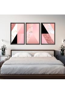 Quadro 60X120Cm Abstrato Escandinavo Coloridos Geométrico Triangulos Moldura Preta Sem Vidro - Mod: Oh5708