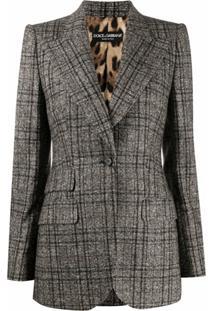 Dolce & Gabbana Blazer Xadrez Com Abotoamento Simples - Marrom