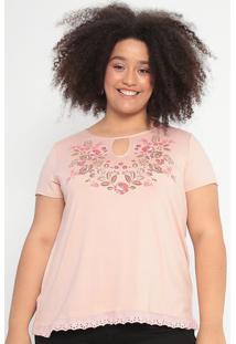 Blusa Floral Com Vazado- Rosê & Marrom- Malweemalwee