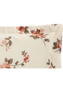 Porta Travesseiro Monterey 2 Peças Estampado Floral Rosê