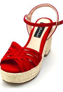 Sandália Love Shoes Salto Bloco Meia Pata Trançada Nobuck Vermelho