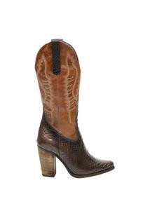 Bota Country Feminina Em Couro Zoccolette Texana Marrom