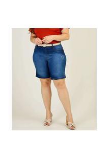 Bermuda Plus Size Feminina Jeans Puídos Marisa