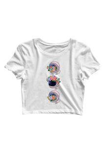 Blusa Blusinha Feminina Cropped Tshirt Camiseta Capacete Flores Branco