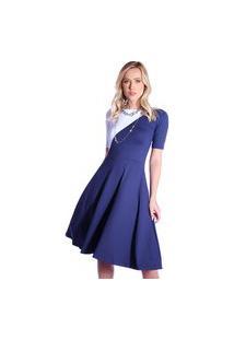 Vestido Duas Cores Ficalinda Azul Marinho E Branco Meia Manga Decote Canoa