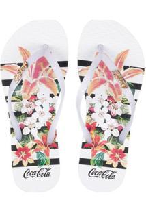Sandália Feminina Coca-Cola Flowers Stripes - Feminino-Branco