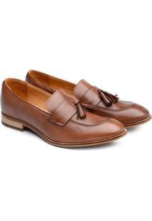 Sapato Oxfords Jacometti Loafer Couro Feminino - Feminino-Caramelo