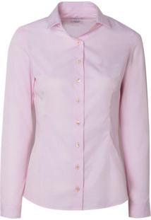 Camisa Manga Longa Feminina Tricoline Fi (P19 - Rosa Claro, 48)