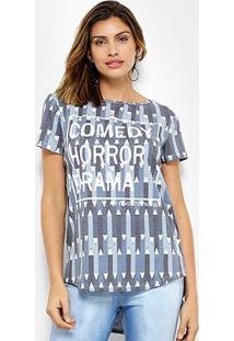 Camiseta My Favorite Thing (S) Alongada Estampada Feminina - Feminino-Azul