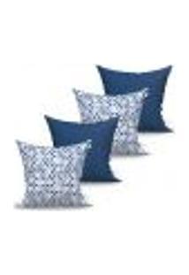 Conjunto De Capas Para Almofada Com 4 Peças Albany Triângulo Azul Marinho 60X60 Cm