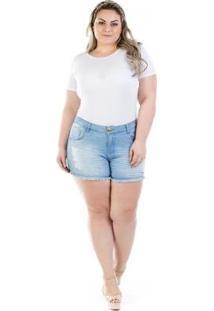 Shorts Jeans Feminino Curto Destroyed Plus Size - Feminino-Azul
