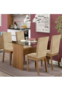 Conjunto De Mesa Com 4 Cadeiras De Jantar Martina Suede Rústico Imperial